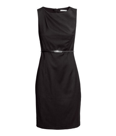 Figure Fit Dress - style: shift; length: mid thigh; neckline: round neck; fit: tailored/fitted; pattern: plain; sleeve style: sleeveless; predominant colour: black; occasions: evening, work, occasion, creative work; fibres: polyester/polyamide - stretch; sleeve length: sleeveless; pattern type: fabric; texture group: woven light midweight; season: a/w 2013