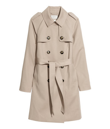 Trenchcoat - pattern: plain; shoulder detail: obvious epaulette; style: trench coat; length: mid thigh; predominant colour: stone; occasions: casual, evening, work, creative work; fit: tailored/fitted; fibres: cotton - stretch; collar: shirt collar/peter pan/zip with opening; waist detail: belted waist/tie at waist/drawstring; back detail: back vent/flap at back; sleeve length: long sleeve; sleeve style: standard; collar break: high; pattern type: fabric; texture group: woven light midweight; trends: 1940's hitchcock heroines; season: a/w 2013