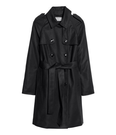 Trenchcoat - pattern: plain; shoulder detail: obvious epaulette; style: trench coat; length: mid thigh; predominant colour: black; occasions: casual, evening, work, creative work; fit: tailored/fitted; fibres: cotton - mix; collar: shirt collar/peter pan/zip with opening; waist detail: belted waist/tie at waist/drawstring; back detail: back vent/flap at back; sleeve length: long sleeve; sleeve style: standard; texture group: cotton feel fabrics; collar break: high; pattern type: fabric; trends: 1940's hitchcock heroines; season: a/w 2013