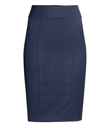 Pencil Skirt - pattern: plain; style: pencil; fit: tailored/fitted; waist detail: wide waistband/cummerbund; waist: high rise; predominant colour: navy; occasions: casual, evening, work, creative work; length: on the knee; fibres: polyester/polyamide - stretch; pattern type: fabric; texture group: woven light midweight; trends: broody brights; season: a/w 2013