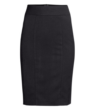 Pencil Skirt - pattern: plain; style: pencil; fit: tailored/fitted; waist detail: wide waistband/cummerbund; waist: high rise; predominant colour: black; occasions: casual, evening, work, creative work; length: on the knee; fibres: polyester/polyamide - stretch; pattern type: fabric; texture group: woven light midweight; trends: 1940's hitchcock heroines; season: a/w 2013