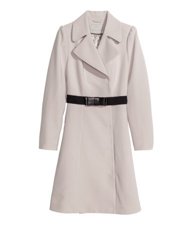 Coat - pattern: plain; style: single breasted; collar: standard lapel/rever collar; length: mid thigh; predominant colour: light grey; occasions: casual, evening, work, creative work; fit: tailored/fitted; fibres: polyester/polyamide - stretch; waist detail: belted waist/tie at waist/drawstring; sleeve length: long sleeve; sleeve style: standard; collar break: medium; pattern type: fabric; texture group: woven bulky/heavy; season: a/w 2013