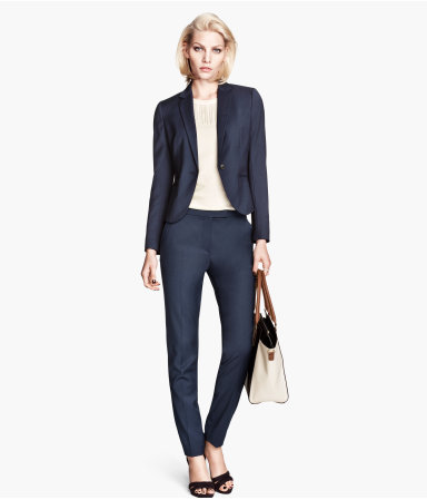 Suit Trousers - length: standard; pattern: plain; pocket detail: small back pockets, pockets at the sides; waist: mid/regular rise; predominant colour: navy; occasions: casual, work, creative work; fibres: polyester/polyamide - stretch; fit: slim leg; texture group: woven light midweight; style: standard; season: a/w 2013