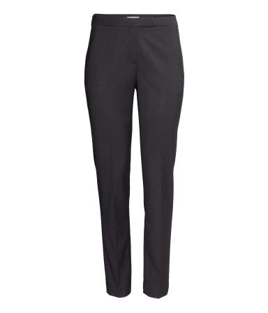 Suit Trousers - length: standard; pattern: plain; pocket detail: small back pockets, pockets at the sides; waist: mid/regular rise; predominant colour: black; occasions: casual, evening, work, occasion, creative work; fibres: polyester/polyamide - stretch; fit: slim leg; pattern type: fabric; texture group: woven light midweight; style: standard; season: a/w 2013