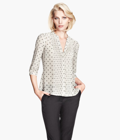 Chiffon Blouse - style: blouse; pattern: polka dot; predominant colour: ivory/cream; secondary colour: taupe; occasions: casual, evening, work, creative work; length: standard; neckline: collarstand & mandarin with v-neck; fibres: polyester/polyamide - 100%; fit: loose; sleeve length: 3/4 length; sleeve style: standard; texture group: sheer fabrics/chiffon/organza etc.; pattern type: fabric; pattern size: standard; trends: playful prints; season: a/w 2013