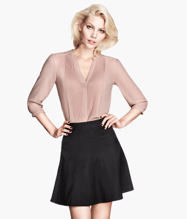 Chiffon Blouse - pattern: plain; style: blouse; bust detail: subtle bust detail; predominant colour: nude; occasions: casual, evening, work, occasion, creative work; length: standard; neckline: collarstand & mandarin with v-neck; fibres: polyester/polyamide - 100%; fit: body skimming; sleeve length: 3/4 length; sleeve style: standard; texture group: sheer fabrics/chiffon/organza etc.; pattern type: fabric; season: a/w 2013; wardrobe: basic