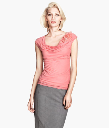 Draped Top - neckline: cowl/draped neck; sleeve style: capped; pattern: plain; predominant colour: pink; occasions: casual, evening, work, creative work; length: standard; style: top; fibres: viscose/rayon - 100%; fit: body skimming; shoulder detail: added shoulder detail; sleeve length: short sleeve; texture group: jersey - stretchy/drapey; season: a/w 2013