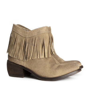 Suede Boots - predominant colour: taupe; occasions: casual, creative work; material: suede; heel height: mid; heel: block; toe: round toe; boot length: ankle boot; style: standard; finish: plain; pattern: plain; embellishment: fringing; season: a/w 2013