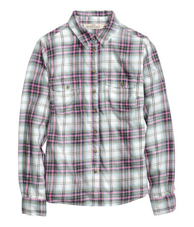 Cotton Shirt - neckline: shirt collar/peter pan/zip with opening; pattern: checked/gingham; style: shirt; secondary colour: white; predominant colour: mid grey; occasions: casual, creative work; length: standard; fibres: cotton - 100%; fit: straight cut; sleeve length: long sleeve; sleeve style: standard; texture group: cotton feel fabrics; pattern type: fabric; season: a/w 2013