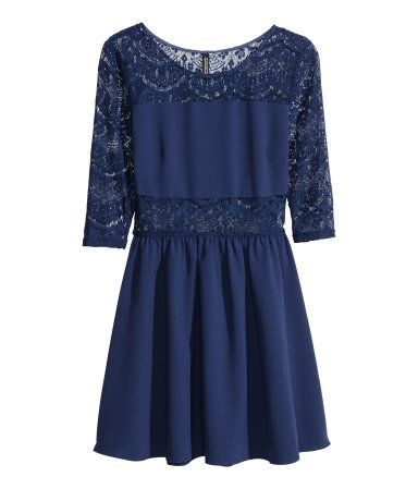 Lace Dress - length: mid thigh; neckline: round neck; pattern: plain; predominant colour: navy; occasions: casual, evening, occasion; fit: fitted at waist & bust; style: fit & flare; fibres: polyester/polyamide - stretch; waist detail: cut out detail; sleeve length: 3/4 length; sleeve style: standard; texture group: crepes; pattern type: fabric; embellishment: lace; season: a/w 2013; shoulder detail: sheer at shoulder; wardrobe: highlight; embellishment location: shoulder, waist
