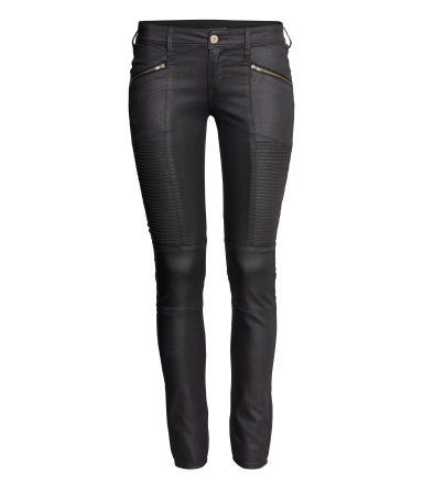 Skinny Low Jeans - style: skinny leg; length: standard; pattern: plain; pocket detail: large back pockets, small back pockets, pockets at the sides; waist: mid/regular rise; predominant colour: black; occasions: casual, evening, creative work; fibres: cotton - stretch; jeans detail: dark wash; texture group: waxed cotton; pattern type: fabric; trends: gorgeous grunge; season: a/w 2013