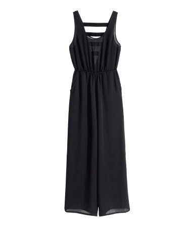 Jumpsuit - length: standard; fit: fitted at waist; pattern: plain; sleeve style: sleeveless; waist detail: elasticated waist; back detail: low cut/open back; predominant colour: black; occasions: evening, occasion; neckline: scoop; fibres: polyester/polyamide - 100%; sleeve length: sleeveless; texture group: sheer fabrics/chiffon/organza etc.; style: jumpsuit; pattern type: fabric; trends: gothic romance; season: a/w 2013