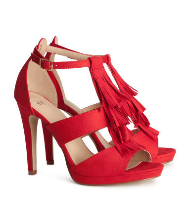 Sandals - predominant colour: true red; occasions: evening, occasion, holiday, creative work; material: fabric; ankle detail: ankle strap; heel: stiletto; toe: open toe/peeptoe; style: strappy; finish: plain; pattern: plain; embellishment: fringing; heel height: very high; shoe detail: platform; season: a/w 2013