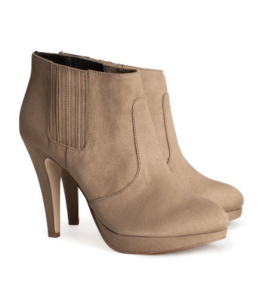 Boots - predominant colour: stone; material: fabric; heel: stiletto; toe: round toe; boot length: ankle boot; style: standard; finish: plain; pattern: plain; heel height: very high; occasions: creative work; shoe detail: platform; season: a/w 2013