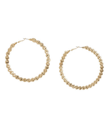 Earrings - predominant colour: gold; occasions: casual, evening, work, creative work; style: hoop; length: long; size: standard; material: chain/metal; fastening: pierced; finish: metallic; season: a/w 2013