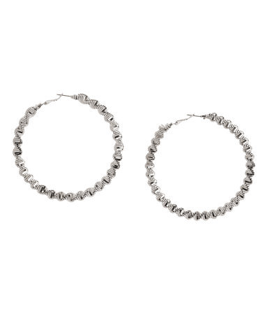 Twisted Creole Earrings - predominant colour: silver; occasions: casual, evening, creative work; style: hoop; length: long; size: standard; material: chain/metal; fastening: pierced; finish: metallic; season: a/w 2013
