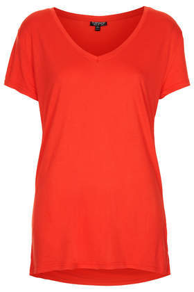 Viscose V Tee - neckline: v-neck; pattern: plain; style: t-shirt; predominant colour: true red; occasions: casual, holiday, creative work; length: standard; fibres: viscose/rayon - 100%; fit: body skimming; back detail: longer hem at back than at front; sleeve length: short sleeve; sleeve style: standard; pattern type: fabric; texture group: jersey - stretchy/drapey; season: a/w 2013