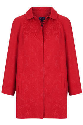 Jacquard Collar Coat - pattern: plain; length: below the bottom; style: single breasted; predominant colour: true red; occasions: casual, evening, work, occasion, creative work; fit: straight cut (boxy); fibres: cotton - 100%; collar: shirt collar/peter pan/zip with opening; sleeve length: 3/4 length; sleeve style: standard; collar break: high; pattern type: fabric; texture group: brocade/jacquard; trends: 1940's hitchcock heroines; season: a/w 2013