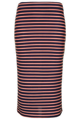 Textured Stripe Tube Skirt - length: below the knee; fit: tight; waist: mid/regular rise; predominant colour: pink; secondary colour: black; occasions: casual, evening, holiday, creative work; fibres: polyester/polyamide - stretch; style: tube; texture group: jersey - clingy; pattern type: fabric; season: a/w 2013; pattern size: standard (bottom); pattern: horizontal stripes (bottom)