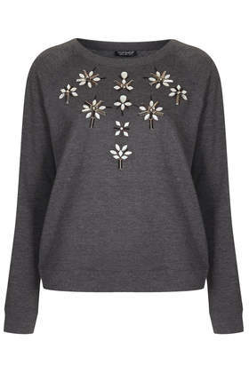 Embellished Sweat - neckline: round neck; bust detail: added detail/embellishment at bust; style: sweat top; predominant colour: charcoal; occasions: casual, creative work; length: standard; fibres: cotton - 100%; fit: body skimming; sleeve length: long sleeve; sleeve style: standard; pattern type: fabric; pattern: florals; texture group: jersey - stretchy/drapey; embellishment: beading; season: a/w 2013