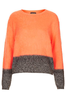 Knitted Contrast Wool Jumper - neckline: round neck; style: standard; predominant colour: bright orange; secondary colour: charcoal; occasions: casual, creative work; length: standard; fibres: acrylic - mix; fit: standard fit; sleeve length: long sleeve; sleeve style: standard; texture group: knits/crochet; pattern type: knitted - other; pattern size: standard; pattern: colourblock; season: a/w 2013