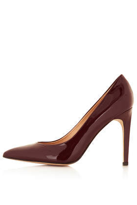 Glimmer Glitter Court Shoes - predominant colour: burgundy; occasions: evening, work, occasion, creative work; material: leather; heel height: high; heel: stiletto; toe: pointed toe; style: courts; finish: patent; pattern: plain; trends: broody brights; season: a/w 2013
