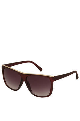 Metal Brow Sunglasses - predominant colour: burgundy; occasions: casual, holiday; style: d frame; size: large; material: plastic/rubber; pattern: plain; finish: plain; season: a/w 2013