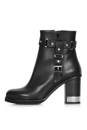 All Theirs Harness Boots - predominant colour: black; occasions: casual, creative work; material: leather; heel height: high; embellishment: buckles; heel: block; toe: round toe; boot length: ankle boot; style: standard; finish: plain; pattern: plain; trends: gorgeous grunge; shoe detail: platform; season: a/w 2013