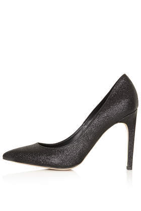 Glimmer Glitter Court Shoes - predominant colour: black; occasions: evening, occasion; material: leather; heel height: high; embellishment: glitter; heel: stiletto; toe: pointed toe; style: courts; finish: metallic; pattern: plain; season: s/s 2016