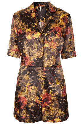 Ambia Fern Playsuit - neckline: shirt collar/peter pan/zip with opening; fit: tailored/fitted; length: mid thigh shorts; occasions: casual, evening, occasion, holiday, creative work; fibres: polyester/polyamide - stretch; predominant colour: multicoloured; sleeve length: 3/4 length; sleeve style: standard; texture group: structured shiny - satin/tafetta/silk etc.; style: playsuit; pattern type: fabric; pattern size: standard; pattern: patterned/print; trends: playful prints, broody brights; season: a/w 2013; multicoloured: multicoloured