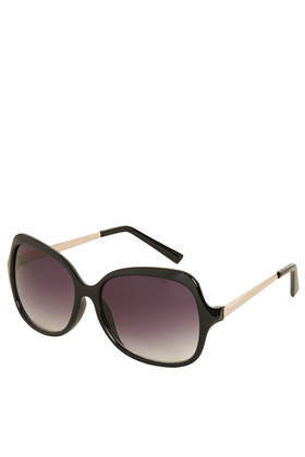 Penny Metal Arm Sunglasses - secondary colour: gold; predominant colour: black; occasions: casual, holiday; style: square; size: large; material: plastic/rubber; pattern: plain; finish: patent; season: a/w 2013