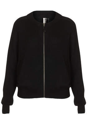 Knitted Cashmere Bomber Cardi - neckline: round neck; pattern: plain; predominant colour: black; occasions: casual, work, creative work; length: standard; style: standard; fit: standard fit; fibres: cashmere - 100%; sleeve length: long sleeve; sleeve style: standard; texture group: knits/crochet; pattern type: knitted - fine stitch; season: a/w 2013