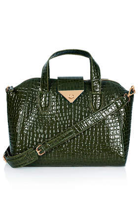 Croc Twist Lock Winged Holdall - predominant colour: dark green; occasions: casual, work, creative work; style: tote; length: handle; size: standard; material: faux leather; pattern: animal print; finish: patent; season: a/w 2013