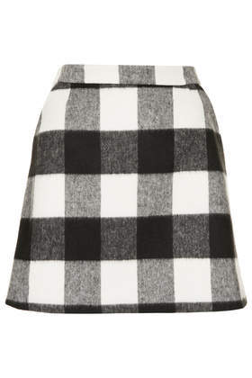 Brush Gingham Aline Skirt - length: mid thigh; pattern: checked/gingham; fit: loose/voluminous; waist: high rise; predominant colour: black; occasions: casual, creative work; style: a-line; fibres: acrylic - mix; pattern type: fabric; texture group: woven light midweight; season: a/w 2013; trends: monochrome; pattern size: big & busy (bottom)