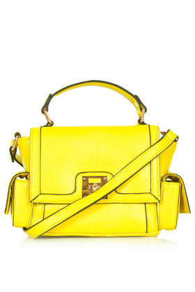Side Pocket Satchel - predominant colour: yellow; occasions: casual, work, creative work; style: satchel; length: across body/long; size: standard; material: faux leather; pattern: plain; finish: plain; season: a/w 2013