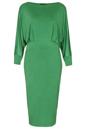 Slinky Open Back Midi Dress - style: shift; length: below the knee; neckline: slash/boat neckline; sleeve style: dolman/batwing; pattern: plain; predominant colour: emerald green; occasions: evening, occasion; fit: body skimming; fibres: polyester/polyamide - stretch; back detail: keyhole/peephole detail at back; sleeve length: long sleeve; pattern type: fabric; texture group: jersey - stretchy/drapey; trends: broody brights, hot brights; season: a/w 2013