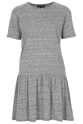 Drop Waist Tunic - pattern: plain; waist detail: drop waist; style: tunic; predominant colour: mid grey; occasions: casual, creative work; fibres: cotton - mix; fit: body skimming; neckline: crew; length: mid thigh; sleeve length: short sleeve; sleeve style: standard; pattern type: fabric; texture group: jersey - stretchy/drapey; season: a/w 2013