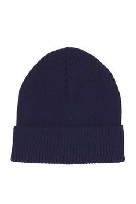 Shorter Turn Up Beanie - predominant colour: navy; occasions: casual; style: beanie; size: standard; material: knits; pattern: plain; trends: broody brights; season: a/w 2013