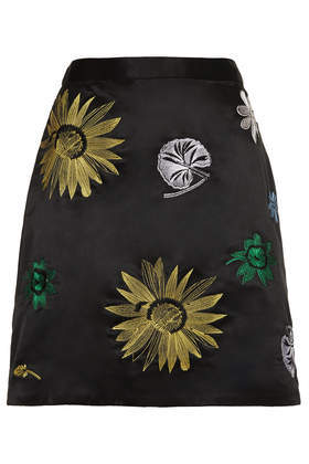 Navy Tokyo Flower Skirt - length: mid thigh; style: straight; fit: tailored/fitted; waist: high rise; predominant colour: black; occasions: casual, evening, holiday, creative work; fibres: polyester/polyamide - 100%; texture group: structured shiny - satin/tafetta/silk etc.; pattern type: fabric; pattern: florals; embellishment: embroidered; season: a/w 2013; pattern size: big & busy (bottom); wardrobe: highlight; embellishment location: pattern