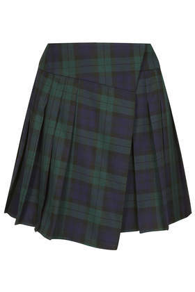 Asymetric Check Kilt - length: mid thigh; pattern: tartan; fit: loose/voluminous; waist detail: wide waistband/cummerbund; waist: mid/regular rise; predominant colour: navy; secondary colour: dark green; occasions: casual, evening, creative work; style: asymmetric (hem); fibres: polyester/polyamide - stretch; hip detail: adds bulk at the hips; pattern type: fabric; texture group: woven light midweight; trends: gorgeous grunge; season: a/w 2013; pattern size: big & busy (bottom)