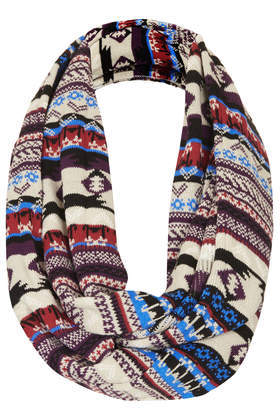 Aztec Fairisle Snood - secondary colour: royal blue; predominant colour: stone; occasions: casual, creative work; type of pattern: standard; style: snood; size: standard; material: knits; pattern: patterned/print; season: a/w 2013