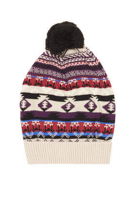 Aztec Fairisle Hat - secondary colour: aubergine; predominant colour: stone; occasions: casual; type of pattern: standard; style: bobble; size: standard; material: knits; pattern: patterned/print; trends: playful prints; season: a/w 2013; embellishment: bobble