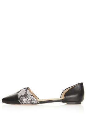 Manhattan 2 Part Points - secondary colour: silver; predominant colour: black; occasions: casual, evening, holiday, creative work; material: leather; heel height: flat; toe: pointed toe; style: ballerinas / pumps; finish: plain; pattern: animal print; season: a/w 2013