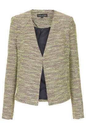 Tall Boucle Blazer - style: single breasted blazer; collar: round collar/collarless; pattern: herringbone/tweed; secondary colour: lime; predominant colour: black; occasions: casual, evening, work, occasion, creative work; length: standard; fit: tailored/fitted; fibres: cotton - mix; sleeve length: long sleeve; sleeve style: standard; collar break: low/open; pattern type: fabric; texture group: woven light midweight; season: a/w 2013