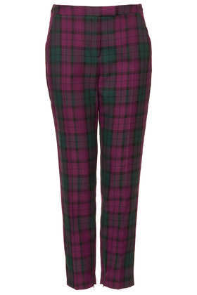 Tall Tartan Check Trousers - pattern: tartan; pocket detail: pockets at the sides; waist: mid/regular rise; predominant colour: purple; secondary colour: black; occasions: casual, evening, creative work; length: ankle length; fibres: polyester/polyamide - mix; fit: tapered; texture group: woven light midweight; style: standard; season: a/w 2013; pattern size: big & busy (bottom)
