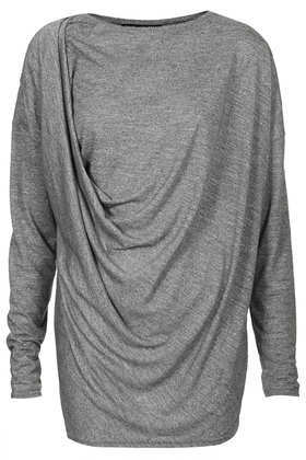 Tall Longsleeve Drape Tee - neckline: round neck; sleeve style: dolman/batwing; pattern: plain; length: below the bottom; bust detail: subtle bust detail; predominant colour: mid grey; occasions: casual, evening, creative work; style: top; fibres: polyester/polyamide - mix; fit: body skimming; sleeve length: long sleeve; pattern type: fabric; texture group: jersey - stretchy/drapey; season: a/w 2013; wardrobe: basic