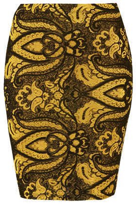 Tall Gold Paisley Skirt - style: pencil; fit: tight; waist: mid/regular rise; predominant colour: mustard; secondary colour: chocolate brown; occasions: casual, evening, creative work; length: just above the knee; fibres: polyester/polyamide - stretch; texture group: jersey - clingy; pattern: patterned/print; season: a/w 2013; pattern size: standard (bottom)