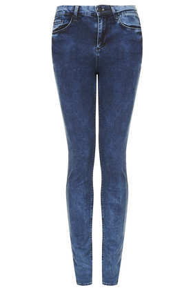 Tall Moto Indigo Mottle Leigh Jeans - style: skinny leg; length: standard; pattern: plain; pocket detail: traditional 5 pocket; waist: mid/regular rise; predominant colour: navy; occasions: casual, evening, creative work; fibres: cotton - stretch; jeans detail: dark wash, washed/faded; texture group: denim; pattern type: fabric; season: a/w 2013