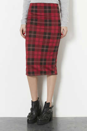 Tall Multi Check Tube Skirt - length: below the knee; pattern: tartan; fit: tight; waist: high rise; secondary colour: black; occasions: evening, work, creative work; fibres: polyester/polyamide - stretch; style: tube; texture group: jersey - clingy; pattern type: fabric; predominant colour: raspberry; season: a/w 2013; pattern size: standard (bottom); wardrobe: highlight