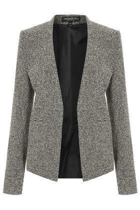 Tall Neppie Cropped Blazer - style: single breasted blazer; collar: round collar/collarless; pattern: herringbone/tweed; secondary colour: white; predominant colour: black; occasions: casual, evening, work, creative work; length: standard; fit: tailored/fitted; fibres: cotton - mix; sleeve length: long sleeve; sleeve style: standard; collar break: low/open; pattern type: fabric; pattern size: light/subtle; texture group: woven light midweight; trends: masculine feminine, monochrome; season: a/w 2013